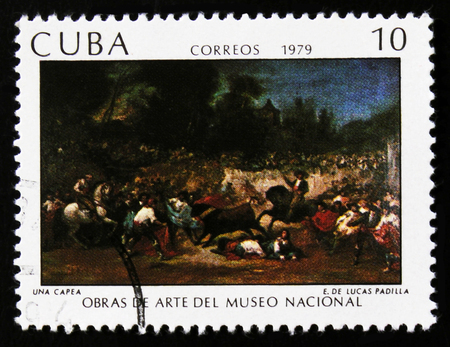 MOSCOW, RUSSIA - JUNE 26, 2017: A stamp printed in Cuba shows painting by Eugenio Lucas Padilla, a Robbery, National museum collection, circa 1979