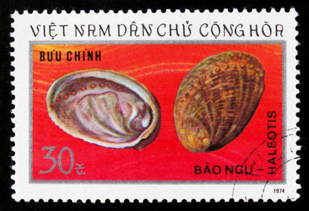 MOSCOW, RUSSIA - JUNE 26, 2017: A stamp printed in Vietnam shows abalone shells from the family Haliotis revealing the Mother of Pearl inside, circa 1974