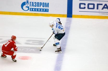 PODOLSK, RUSSIA - SEPTEMBER 10, 2017: Akolzin (27) in action on hockey game Vityaz vs Barys on 10th Russia KHL championship on September 10, 2017, in Podolsk, Russia. Vityaz won 5:1 Redakční