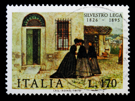 MOSCOW, RUSSIA - MAY 10, 2018: A stamp printed in Italy shows Painting by Silvestro Lega, serie, circa 1976