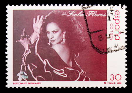 MOSCOW, RUSSIA - MAY 10, 2018: A stamp printed in Spain shows Lola Flores, Famous people serie, circa 1996