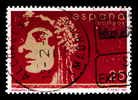 MOSCOW, RUSSIA - MAY 10, 2018: A stamp printed in Spain shows Margarita Xirgu, Famous People serie, circa 1992 Editorial
