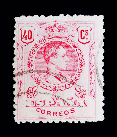 MOSCOW, RUSSIA - MAY 10, 2018: A stamp printed in Spain shows King Alfonso XIII, serie, circa 1910 Editorial