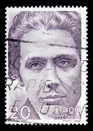 MOSCOW, RUSSIA - MAY 10, 2018: A stamp printed in Spain shows Victoria Kent, Famous people serie, circa 1990 Editorial
