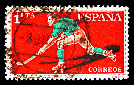 MOSCOW, RUSSIA - MAY 10, 2018: A stamp printed in Spain shows Roller Hockey, Sports serie, circa 1960