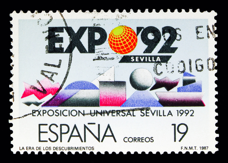 MOSCOW, RUSSIA - MAY 10, 2018: A stamp printed in Spain shows EXPO - 92. The Age of Discoveries, Expo Sevilla - 92 serie, circa 1987