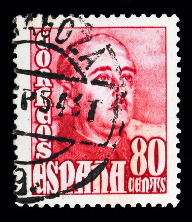 MOSCOW, RUSSIA - MAY 10, 2018: A stamp printed in Spain shows General Franco, serie, circa 1954