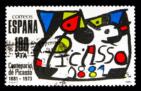 MOSCOW, RUSSIA - MAY 10, 2018: A stamp printed in Spain shows Homage to Picasso, Homages serie, circa 1981