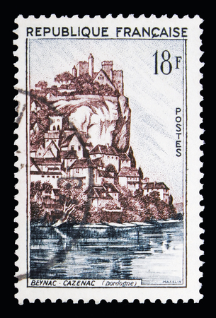 MOSCOW, RUSSIA - MAY 10, 2018: A stamp printed in France shows Beynac-Cazenac, Tourism serie, circa 1957 Editorial
