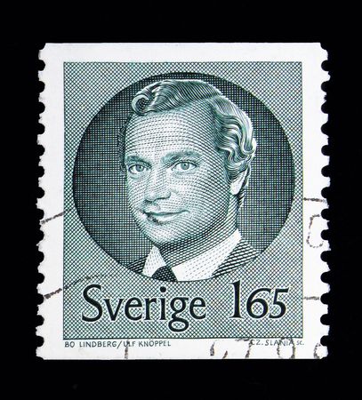 MOSCOW, RUSSIA - MAY 10, 2018: A stamp printed in Sweden shows King Carl XVI Gustaf, serie, circa 1981