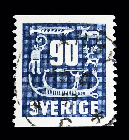 MOSCOW, RUSSIA - MAY 10, 2018: A stamp printed in Sweden shows Rock Carvings, serie, circa 1954 Editorial