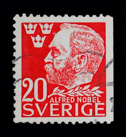 MOSCOW, RUSSIA - MAY 10, 2018: A stamp printed in Sweden shows Alfred Nobel, serie, circa 1946
