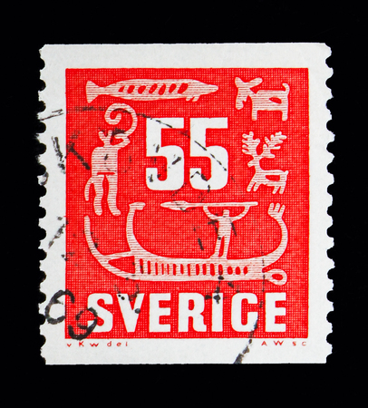 MOSCOW, RUSSIA - MAY 10, 2018: A stamp printed in Sweden shows Rock Carvings, serie, circa 1957