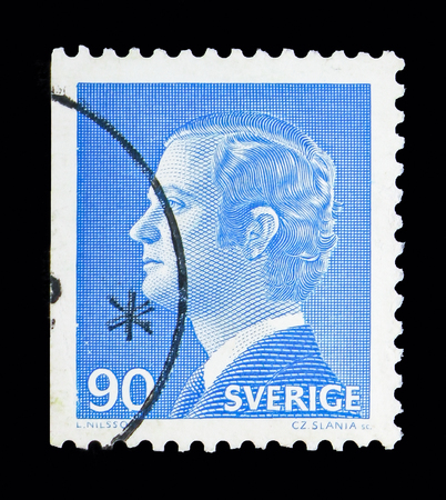 MOSCOW, RUSSIA - MAY 10, 2018: A stamp printed in Sweden shows King Carl XVI Gustaf, serie, circa 1975