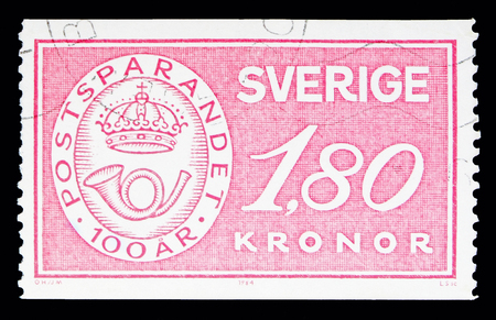 MOSCOW, RUSSIA - MAY 10, 2018: A stamp printed in Sweden shows Postal Savings badge, serie, circa 1984