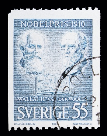 MOSCOW, RUSSIA - MAY 10, 2018: A stamp printed in Sweden shows Otto Wallach (chemistry) & Johannes van der Waals (physics), Nobel Prize Winners 1910 serie, circa 1970