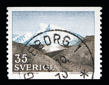 MOSCOW, RUSSIA - MAY 10, 2018: A stamp printed in Sweden shows Fell (Fjall landscape) in Northwestern Sweden, Landscapes serie, circa 1967