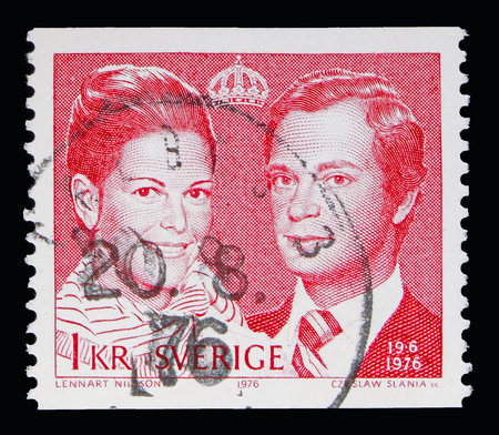 MOSCOW, RUSSIA - MAY 10, 2018: A stamp printed in Sweden shows Royal Wedding, serie, circa1976