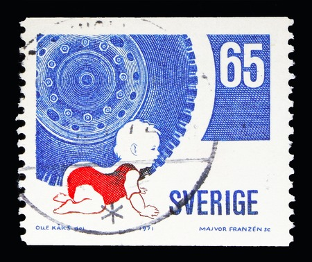 MOSCOW, RUSSIA - MAY 10, 2018: A stamp printed in Sweden shows Road safety, serie, circa 1971