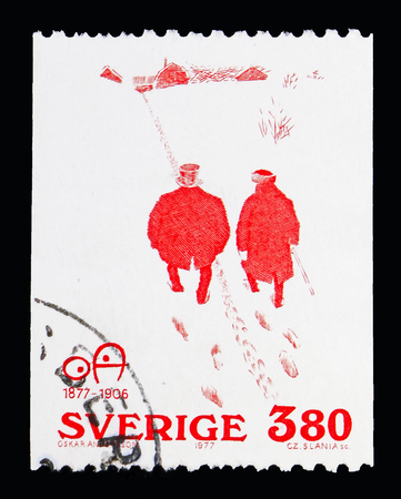 MOSCOW, RUSSIA - MAY 10, 2018: A stamp printed in Sweden shows Politeness (cartoon by Oskar Andersson 1905), serie, circa 1977 Editorial