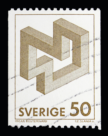 MOSCOW, RUSSIA - MAY 10, 2018: A stamp printed in Sweden shows Impossible figure, Definitives serie, circa 1982 Redakční