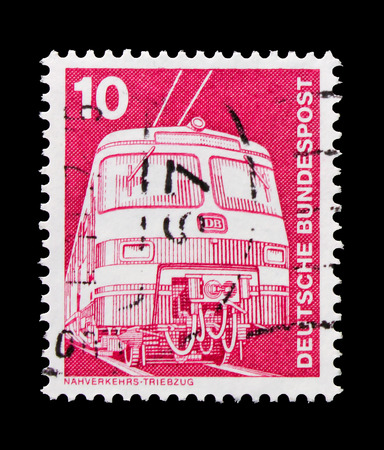 MOSCOW, RUSSIA - OCTOBER 21, 2017: A stamp printed in German Federal republic shows Commuter train ET 420421, Industry and Technology Definitives 1975-1982 serie, circa 1975 Editorial