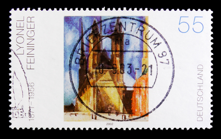 MOSCOW, RUSSIA - OCTOBER 21, 2017: A stamp printed in German Federal Republic shows Lyonel Feininger painting, serie, circa 2002 Editorial