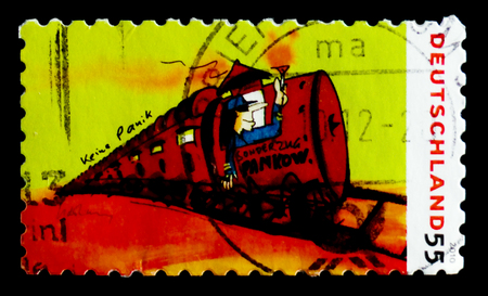 MOSCOW, RUSSIA - OCTOBER 21, 2017: A stamp printed in German Federal Republic shows Paintings from Udo Lindenberg: special train to Pankow, serie, circa 2010 Editorial