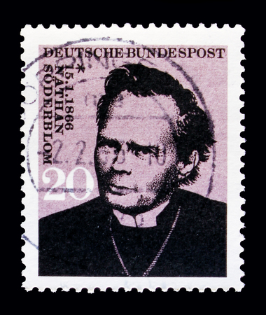 MOSCOW, RUSSIA - OCTOBER 21, 2017: A stamp printed in German Federal republic shows Nathan Soderblom, Archbishop of Uppsala, Birth centenary serie, circa 1966 Editorial