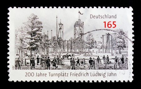 MOSCOW, RUSSIA - OCTOBER 21, 2017: A stamp printed in German Federal Republic devoted to 200 years of gymnastic place Friedrich Ludwig Jahn Turnplatz, serie, circa 2011