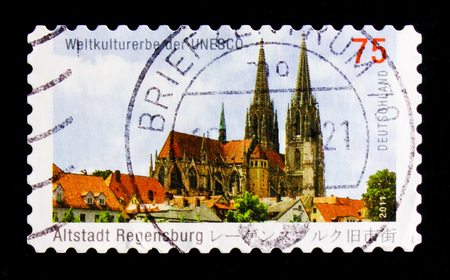 MOSCOW, RUSSIA - OCTOBER 21, 2017: A stamp printed in German Federal Republic shows Cathedral Saint Peter, Regensburg (built 1273-1520) circa 2011 Editorial