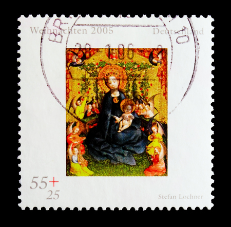 MOSCOW, RUSSIA - OCTOBER 21, 2017: A stamp printed in German Federal Republic shows painting Rose arbor by Stefan Lochner, Christmas 2005 serie, circa 2005 Editorial
