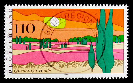 MOSCOW, RUSSIA - OCTOBER 3, 2017: A stamp printed in Germany Federal Republic shows Luneburg Heath, Views from Germany serie, circa 1997