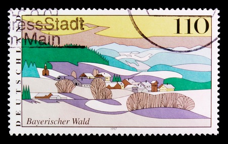 MOSCOW, RUSSIA - OCTOBER 3, 2017: A stamp printed in Germany Federal Republic shows Bavarian Forest, Views from Germany serie, circa 1997