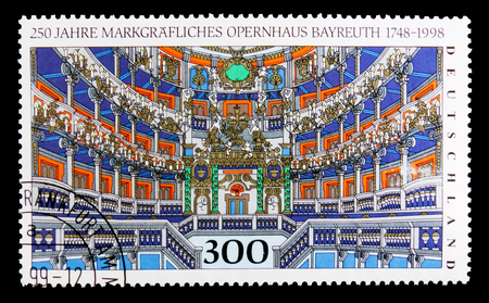 MOSCOW, RUSSIA - OCTOBER 3, 2017: A stamp printed in Germany Federal Republic shows Opera Bayreuth, 250th Anniv. of Bayreuth Opera House serie, circa 1998 Editorial