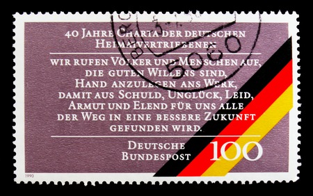 MOSCOW, RUSSIA - OCTOBER 3, 2017: A stamp printed in Germany Federal Republic shows 40th Anniv. of Expelled Germans Charter, serie, circa 1990