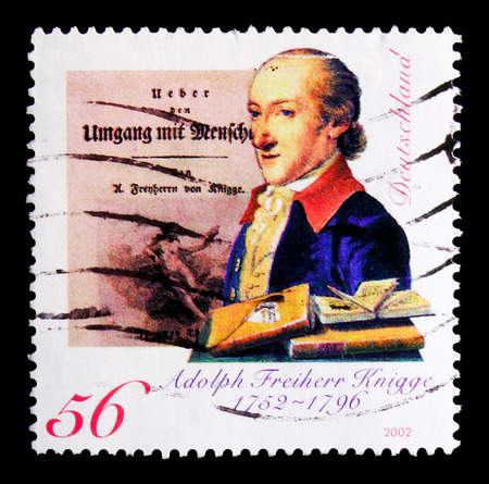 MOSCOW, RUSSIA - OCTOBER 21, 2017: A stamp printed in German Federal Republic shows portrait of Adolph Baron von Knigge (1752-1796), writer, 250th birthday anniversary serie, circa 2002