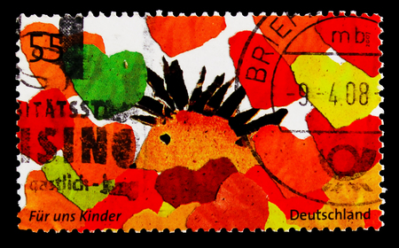 MOSCOW, RUSSIA - OCTOBER 21, 2017: A stamp printed in German Federal Republic shows Kids draw, For Us Children serie, circa 2007
