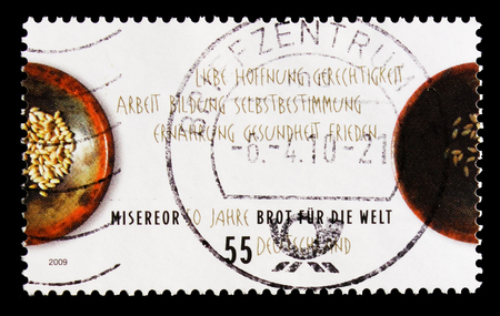 MOSCOW, RUSSIA - OCTOBER 21, 2017: A stamp printed in German Federal republic shows Bread for the World, 50 Years Misereor serie, circa 2009