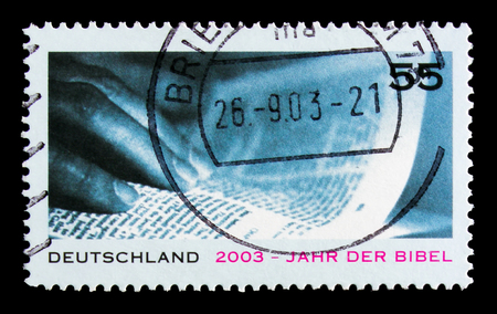 MOSCOW, RUSSIA - OCTOBER 21, 2017: A stamp printed in German Federal Republic shows Bible year, serie, circa 2003 Editorial