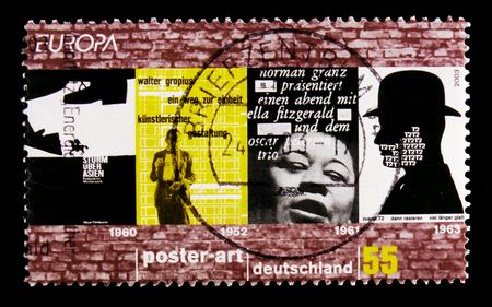 MOSCOW, RUSSIA - OCTOBER 21, 2017: A stamp printed in German Federal Republic shows C.E.P.T poster art, serie, circa 2003 Editorial