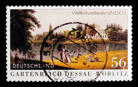 MOSCOW, RUSSIA - OCTOBER 21, 2017: A stamp printed in German Federal Republic shows Garden Realm Dessau-Worlitz, circa 2002