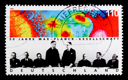 MOSCOW, RUSSIA - OCTOBER 3, 2017: A stamp printed in Germany Federal Republic shows Max Planck Society, 50th Anniversary of Max Plank Society for the Advancement of Science serie, circa 1998 報道画像