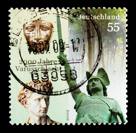 MOSCOW, RUSSIA - OCTOBER 21, 2017: A stamp printed in German Federal republic devoted to 2000 years Varus battle, Bimillennary of Varus (Teutoburg Forest) Battle serie, circa 2009 Editorial