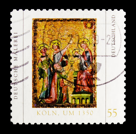 MOSCOW, RUSSIA - OCTOBER 21, 2017: A stamp printed in German Federal republic shows Adoration of the Magi; Cologne panel painting (about 1350), German Painting serie, circa 2008 Editorial