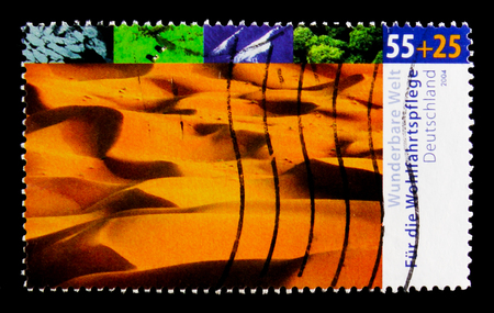 MOSCOW, RUSSIA - OCTOBER 21, 2017: A stamp printed in German Federal Republic shows Desert, Welfare: Wonderful world - climates serie, circa 2004