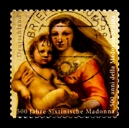 MOSCOW, RUSSIA - OCTOBER 21, 2017: A stamp printed in German Federal Republic shows Sistine Madonna, serie, circa 2012