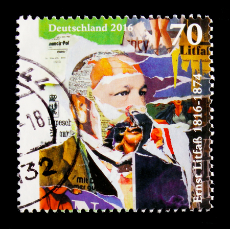 MOSCOW, RUSSIA - OCTOBER 21, 2017: A stamp printed in German Federal Republic shows portrait of Ernst Litfaß, 200th Anniversary of the Birth serie, circa 2016