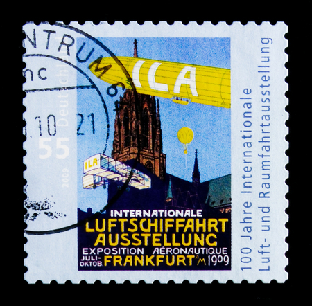 MOSCOW, RUSSIA - OCTOBER 21, 2017: A stamp printed in German Federal republic devoted to Centenary of International Aerospace Exhibition , serie, circa 2009 Editorial