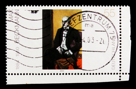 MOSCOW, RUSSIA - OCTOBER 21, 2017: A stamp printed in German Federal Republic shows Junger Argentinier by Max Beckmann, German Painting of the 20th Century serie, circa 2003 Editorial